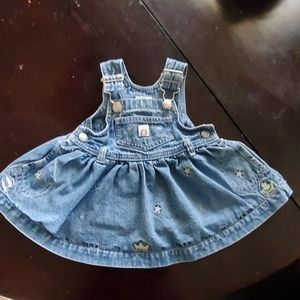 Gap baby denim embroidered overall dress